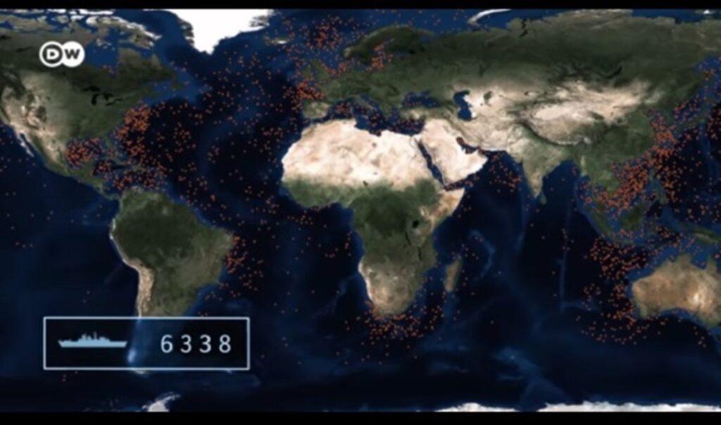Ubicación de los naufragios de la segunda guerra mundial
